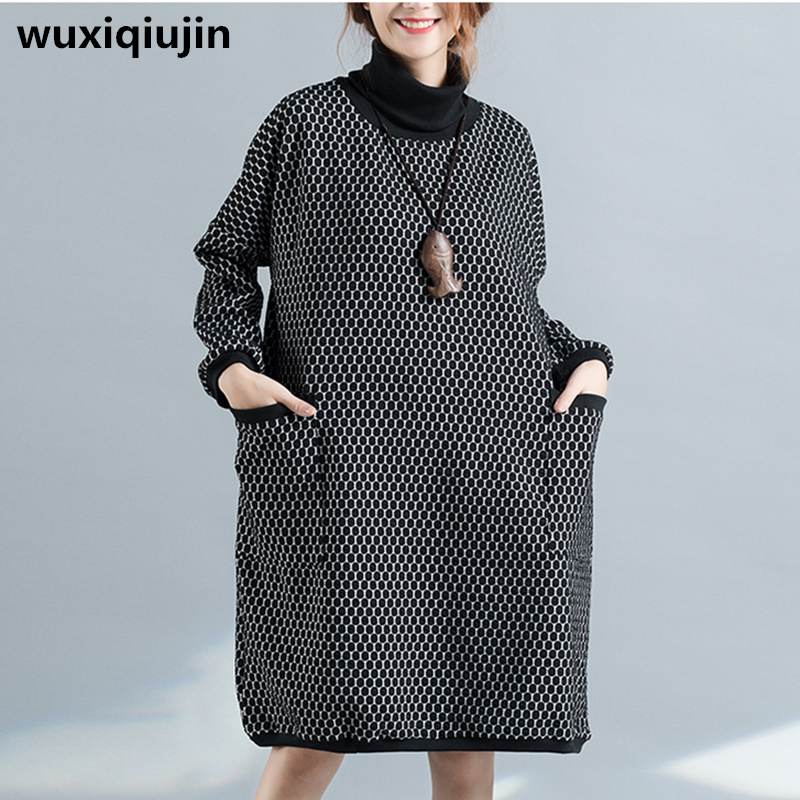 2017 women winter clothes large size Dot dress high waist women dresses Turtleneck casual dree women ...