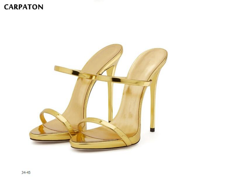bb381351f485dd Haute Casual Nude 2018 Femmes silver Nu Carpaton amp; Talons Mince  Application Color golden Party Gold forme Date Solide Sandales ...
