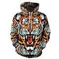 Nuevo 2016 Hip Hop tiger con capucha 3d impreso hombres mujeres sudaderas bolsillo delantero Loose slim Fit cordón sudaderas ropa tops