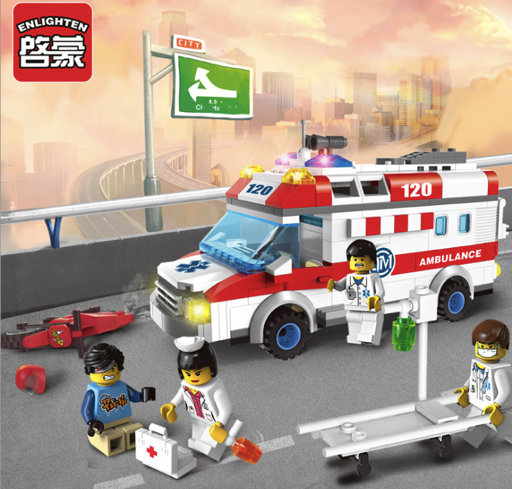 328pcs Building Blocks City Series Ambulance Doctor DIY Toys Children's Birthday Present Intelligence Creative Plaything машины welly модель машины 1 34 39 lada granta пожарная охрана