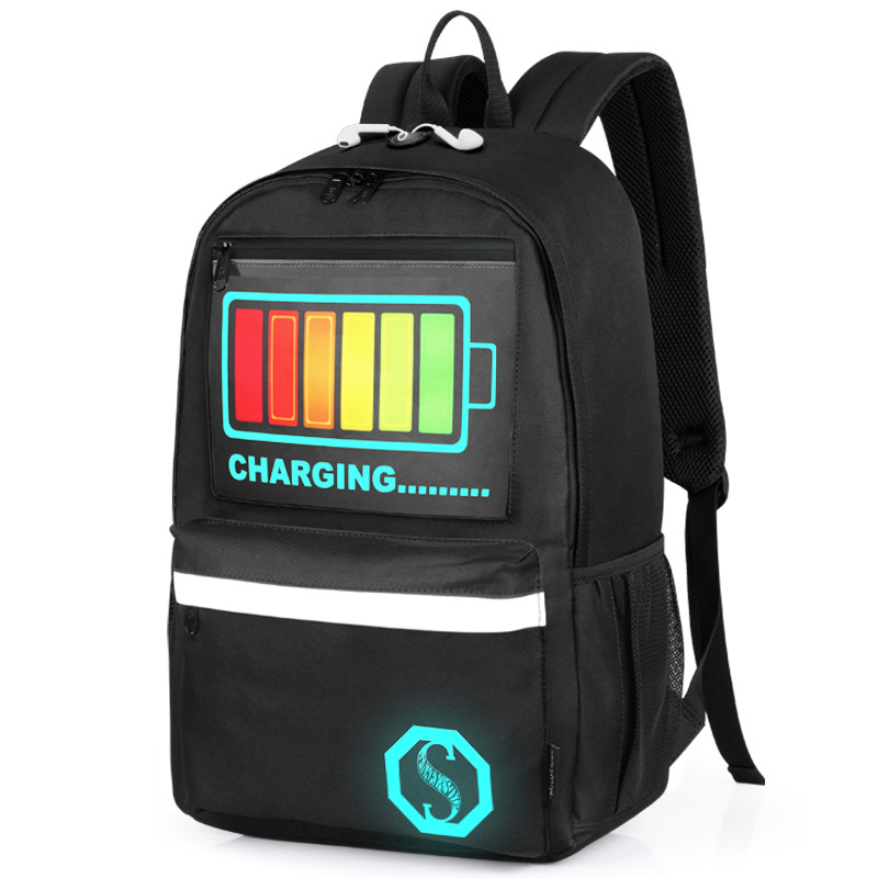 [Drop Shipping] 2018 Multifunctional Noctilucence School Bags Intelligent Voice Control Nigh Lighting Backpacks with gift (B318)