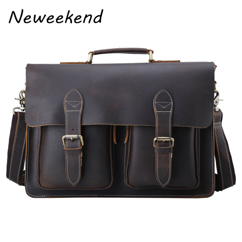 Men s Genuine Leather Briefcase Vintage Crazy Horse Male Messenger Shoulder 15 inch Laptop Flap Crossbody