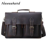 Top Grade Handmade Mens Real Crazy Horse Leather Briefcase Vintage Style Messenger Shoulder 15 Inch Laptop