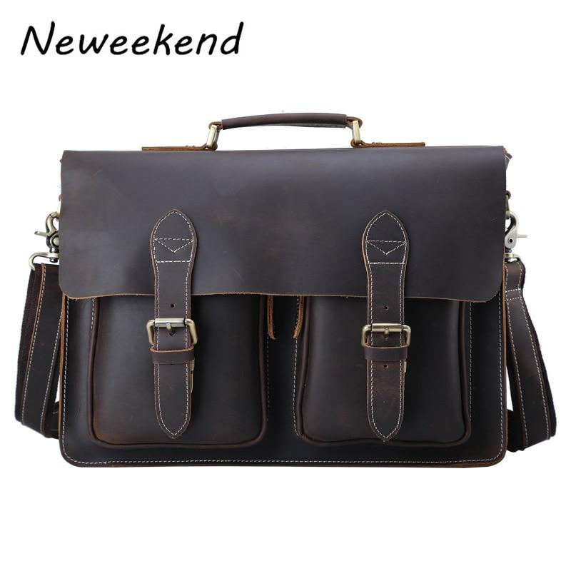 Vintage Men/'s Genuine Leather Briefcase Messenger Shoulder Handbag Business Bag