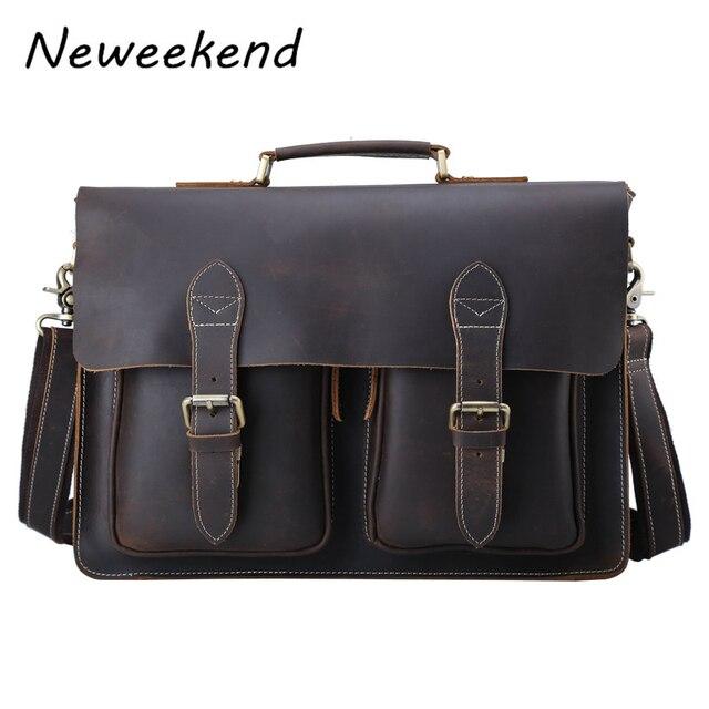 Men s Genuine Leather Briefcase Vintage Crazy Horse Male Messenger Shoulder  15 inch Laptop Flap Crossbody Bag Handbag Business b1d9ce7bd2