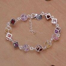 Free Shipping Wholesale silver bracelet, 925 fashion silver plated jewelry Colored Stone Bracelet /OYMVJBUX NRBSHTMF