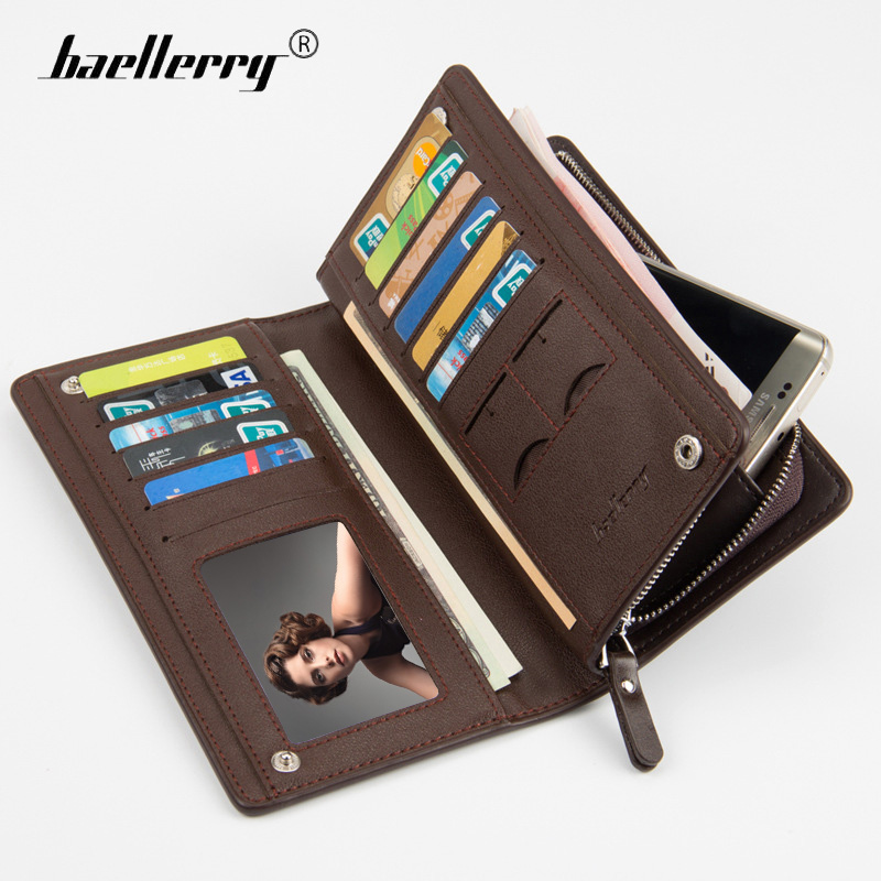 Baellerry Leather Purse Brand Men Wallets Long Phone Case Bag Men Purse Wallet Male Clutch Card Coin Purse Holder Mens Money Bag designer men wallets famous brand men long wallet clutch male money purses wrist strap wallet big capacity phone bag card holder