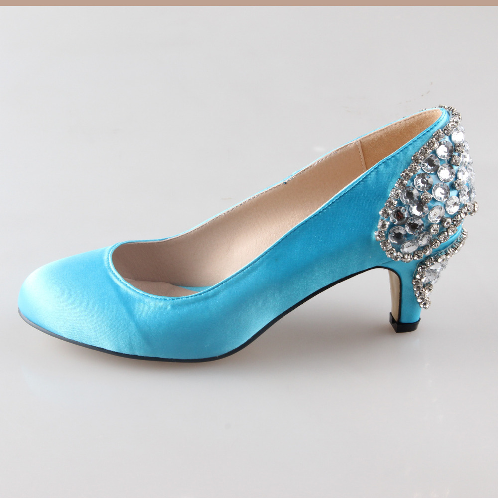 Handmade aqua sky blue sewed crystal heels rounded toe woman wedding ...