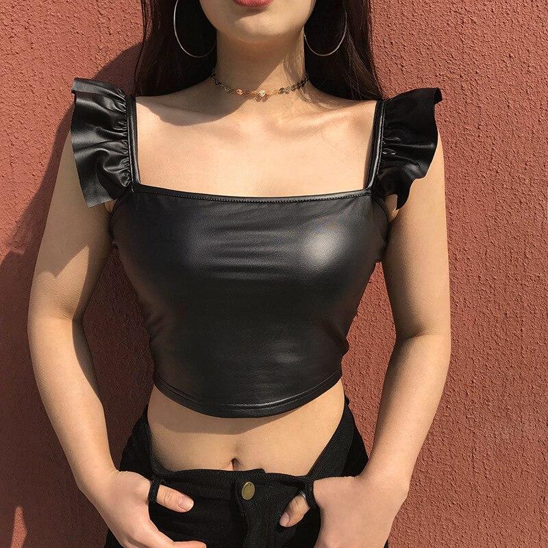 Susi&Rita Summer Pu Leather Crop Tops Women Sexy Sleeveless Tank Top 2018 Bandage Bustier Top Femme Cropped Feminino