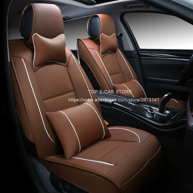 Luxury Leather Car Cushion Seat Covers Universal For Dacia Duster Sandero Logan 3D Styling