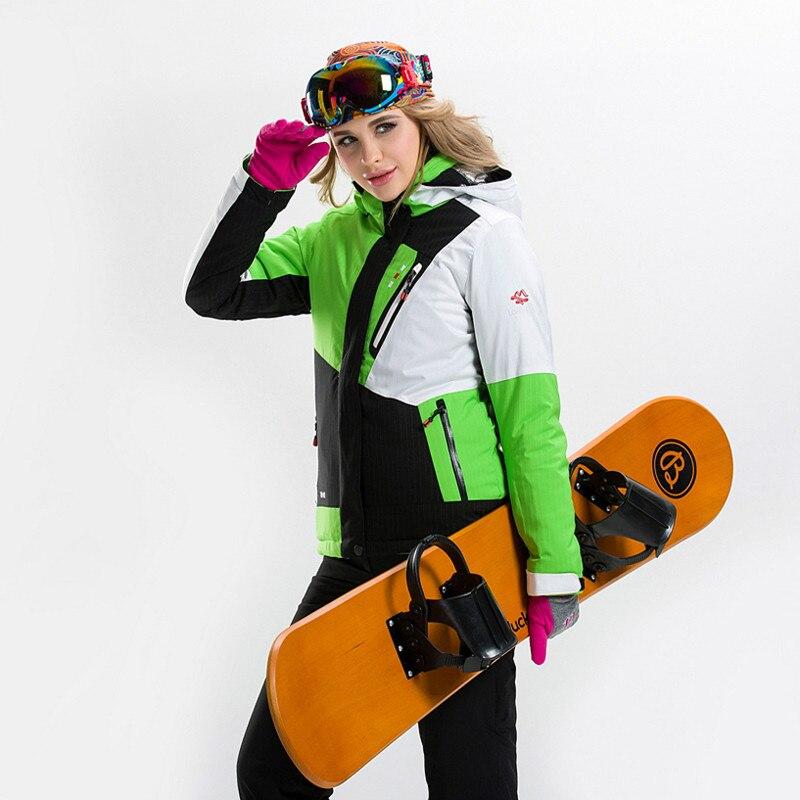 Prix pour Femme Snowboard Costume Veste + Pantalon D'hiver Ski Ensemble Imperméable Coupe-Vent pour Femmes En Plein Air Chaud Thermique Vêtements Mis en Vente