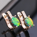Beautiful Romantic Lab-created Multicolor Fire Opal Zirconia Gold Plated Earrings For Women Anniversary
