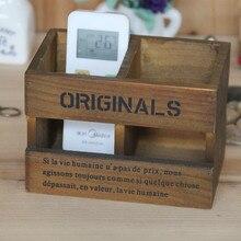 बहुआयामी रिमोट कंट्रोल स्टोरेज बॉक्स लकड़ी के बक्से ऊन विंटेज लकड़ी sundries डेस्कटॉप कलम धारक 16.5 * 10.5 * 11.3 सेमी