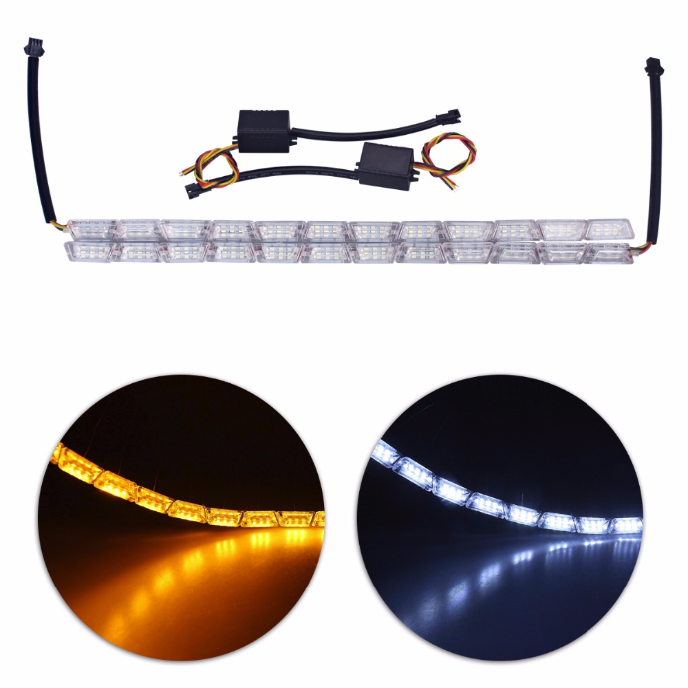 Car-styling Flexible White/Amber Switchback LED Knight Rider Strip Light for Headlight Sequential Flasher DRL Turn Signal Lights
