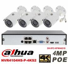 Dahua original 4CH 4MP H2.64 DH-IPC-HFW4421S 4pcs bullet Waterproof camera POE DAHUA DHI-NVR4104HS-P-4KS2 IP security camera kit