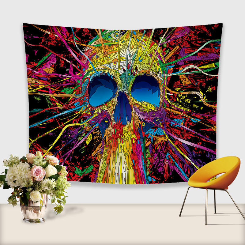 Image 4 - 3D Skull Tapestry Polyester Wall Hanging Gobelin Painting Pattern Beach Picnic Yoga Rug Mat Home Decor Crafts-in Tapestry from Home & Garden