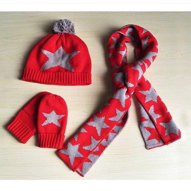 8fb27594b9a8b Bébé & enfants filles garçons rouge étoile imprimé tricoté chapeau écharpe  et gant ensembles enfants automne