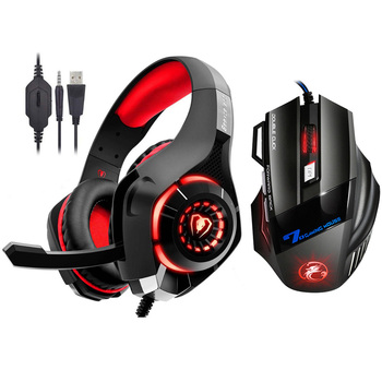 Kotion EACH Stereo Gaming Headset for Xbox One PS4 PC Surround Sound Over-Ear Headphones + 7 Button 3200DPI Pro Gaming Mouse kotion each g3100 3 5mm adjustable usb gaming headset