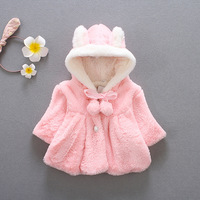 Autumn Winter Children Jackets Baby Plush Thickening Warm Coat Toddler Girl Clothing Outerwear Bow Girl Clothes