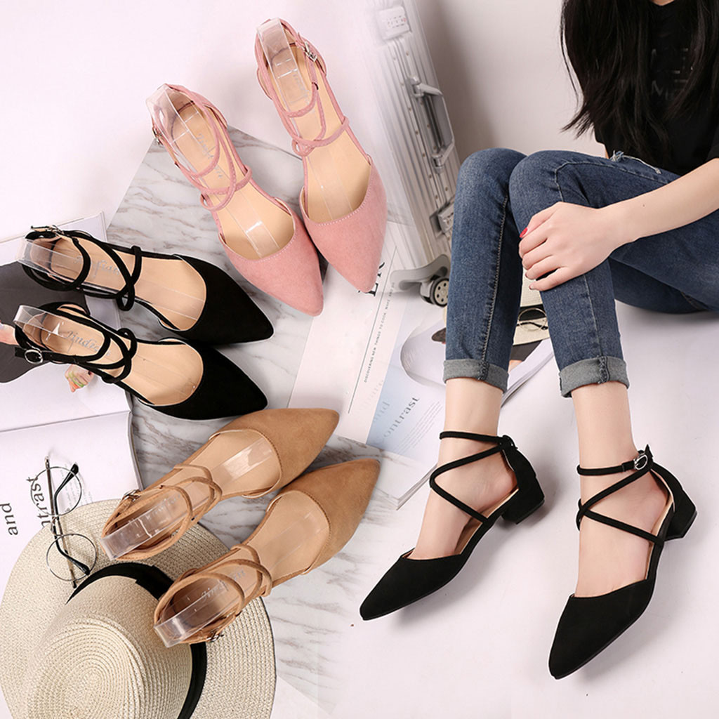 Women's Sandals Toe-Buckle-Strap Square Heel Med-Heel-Shoes Summer Casual-Point Fashion