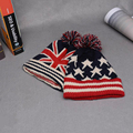 Flag Beanie Winter Kniting Hat With Pom Pom Hip Hop Dancing British Flag Stars Unisex Men Womens Skullies Beanies Accessories