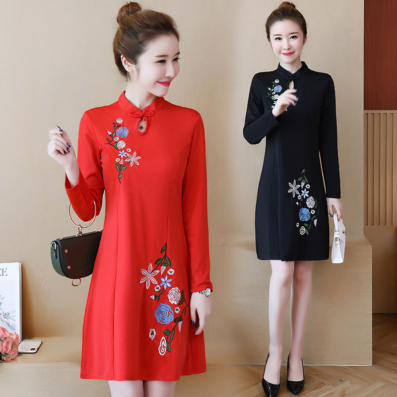 3c7075ce224b Detail Feedback Questions about New Year Chinese Style Improved Cheongsam  Plus Size 5XL Mini Dress Women Vintage Floral Embroidery A line Dresses  Black Red ...