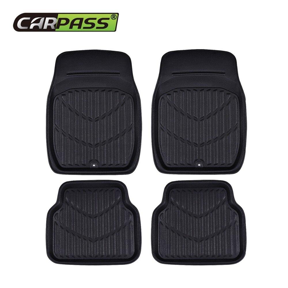 Car-pass Universal Car Floor Mats Foot Mat Front Rear Auto Interior Anti-Slip Mat Red Black Car Styling PU Leather Waterproof