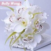 Sully Wong Ipek çiçek düğün buketi orkide Yapay çiçekler güz canlı sahte yaprak düğün çiçek gelin buketleri dekorasyon