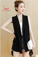 Women in the long spring and summer new loose thin black sleeveless cardigan autumn chiffon vest