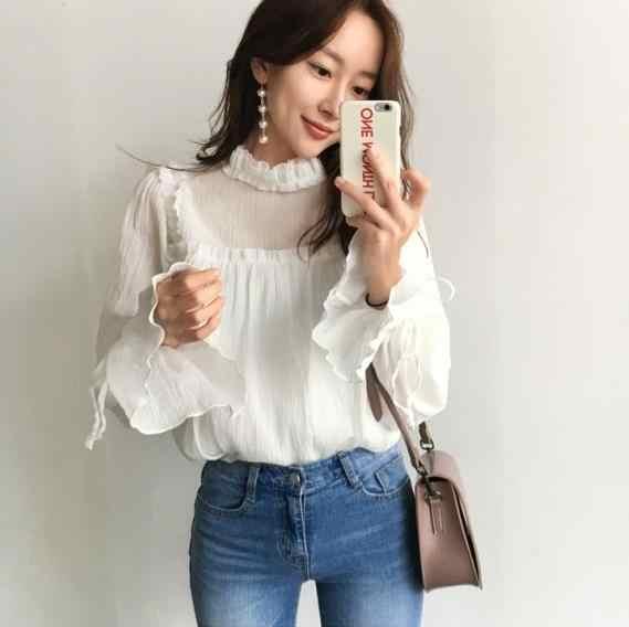 2018 осенние женские Яркие Рубашки с рукавами/элегантный черный гриб и блузка в складку рубашка белая RQ76