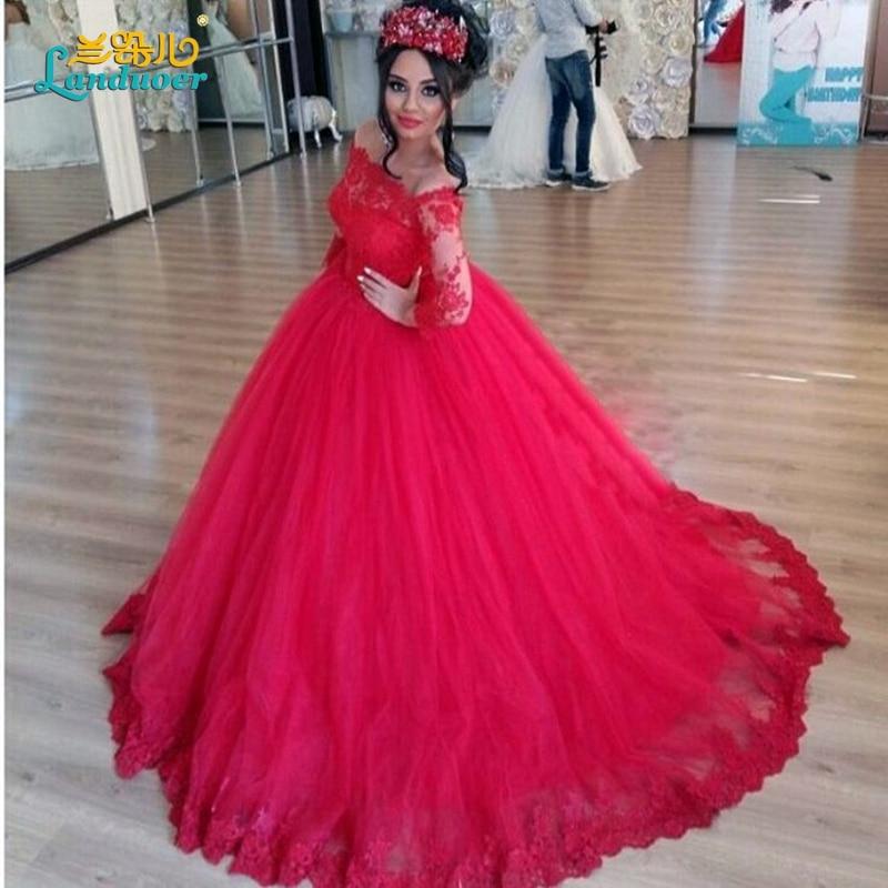 785a6ff5465 Red Ball Gown Wedding Dresses 2016 Vestido de noiva Vintage Lace Appliques Bridal  Gowns Romantic long sleeve Arab Wedding Dress
