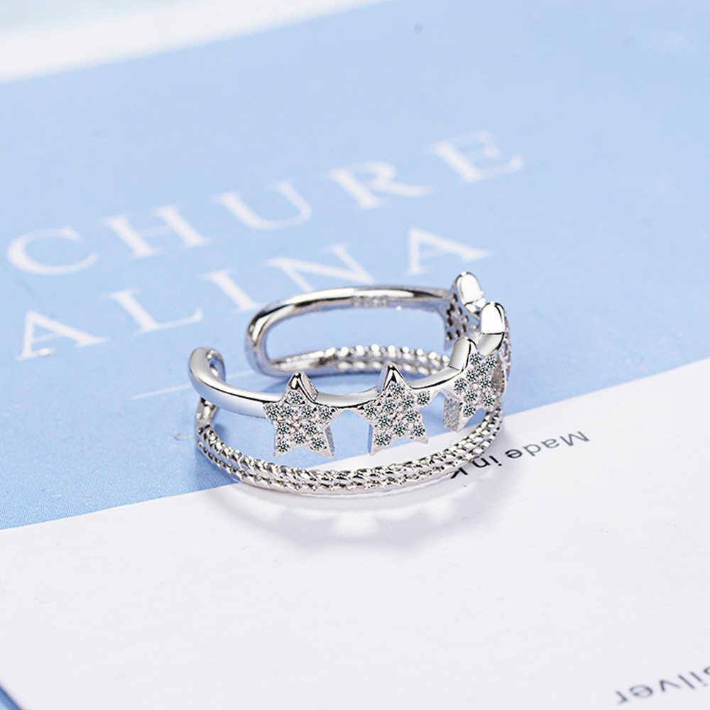 Utimtree الأزياء مزدوجة خط تصميم المرأة خمس نجوم فضة فتح خواتم للحزب مجوهرات الزركون حجر البنصر سيدة