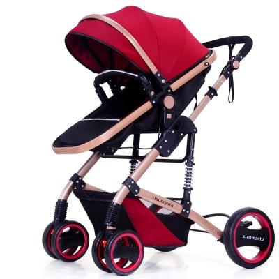 High summer landscape baby stroller can sit lie pram portable folding two-way four-wheel shock baby cart