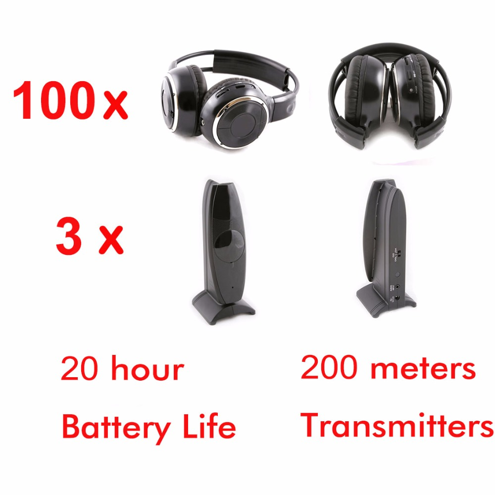 Профессиональный 200 м Складная silent disco беспроводные наушники 100 шт. упакованы с 3 Передатчики