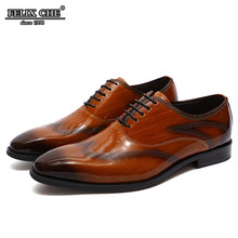 Handmade Men Genuine Leather Dress Shoes High Quality Italian Design Brown Black Color Hand-polished Pointed Toe Wedding Shoes(China)