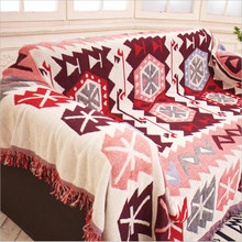 Cotton Towel Blanket for Couch Sofa Decorative Slipcover Amrican Plaid European Style Stitching Travel Plane Blanket Healthy Mat(China)