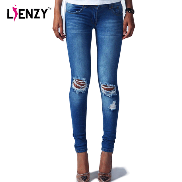 2016 New Spring Europe low waist ripped jeans Fashion Hole Knee Skinny Denim Slim Pencil Pants