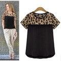 Mulheres Blusas com Estampa de Leopardo das Mulheres de Manga Curta Chiffon Camisas Tops Casuais Roupas de Verão 2015 Nova Blusas Pretas Brancas