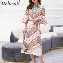 Delocah Autumn Women Dresses Runway Fashion Designer Flare Sleeve Loose Gorgeous Printed Midi Vintage Dress