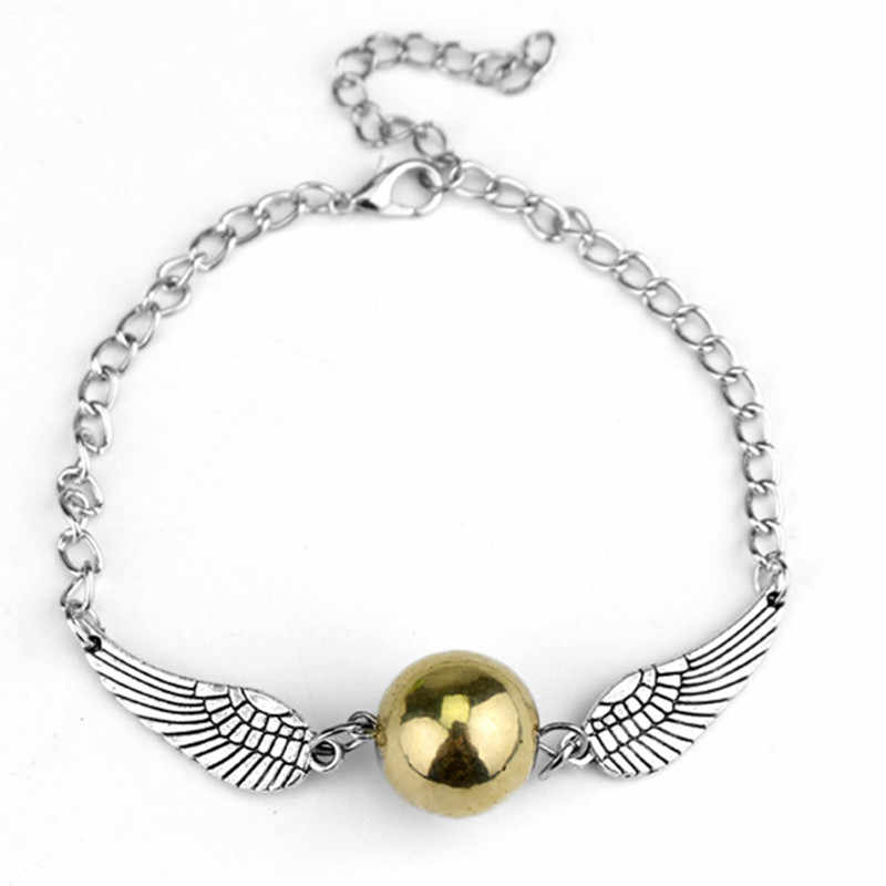Vintage Hyperbolic Fashion Wing Bangle Alloy Cover Golden Snitch Element Bracelet Death Hallows Golden Balls Smooth Bracelet