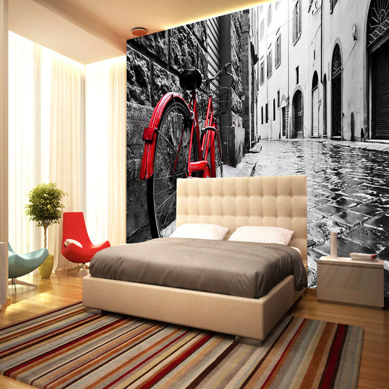 Wall Mural in Wallpapers 3D Photo Wallpapers Retro Nostalgic European Street Bike Backdrop 3D Wallpapers for Bedroom Wall Mural 3d wall paper mural with any size hand painted balloon lovely cartoon bedroom 3d mural wallpapers for children non woven mural