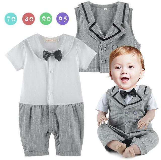 Baby Boy Gentleman Romper Bebe Infant Toddler Striped Vest Cotton