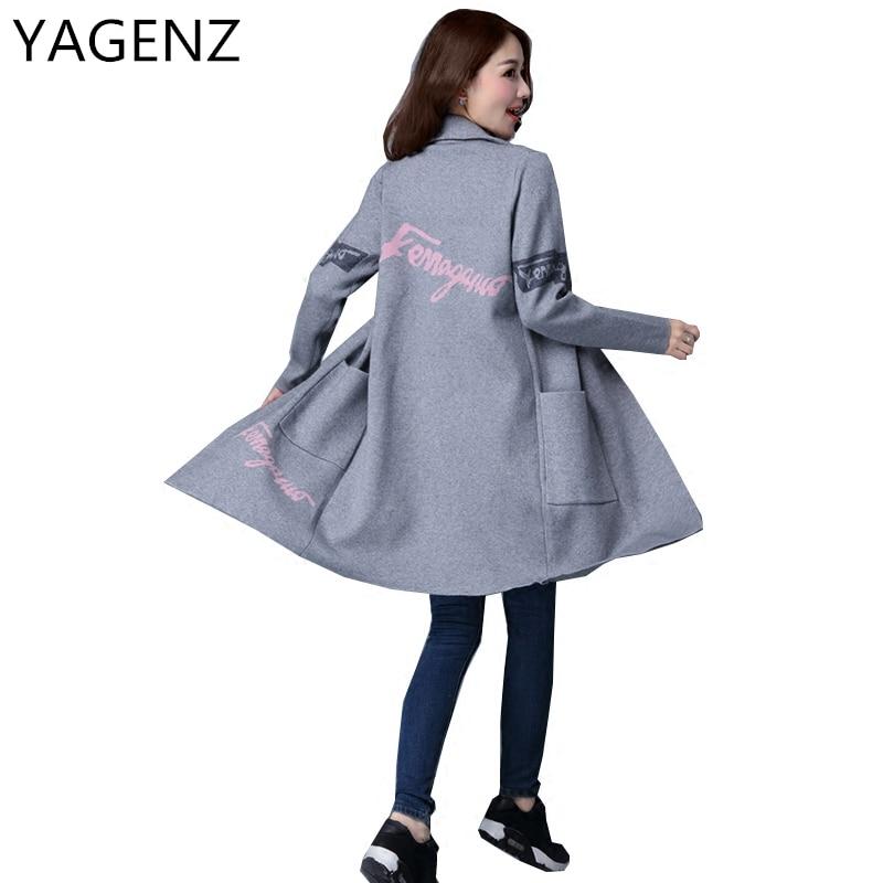 YAGENZ 2017 Women New Sweater Cardigan Plus size M-3XL Casual Loose Sweater Coat Autumn Suit collar Cardigan Female Windbreaker