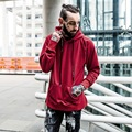 Red Hip Pop Men Hoodies Fashion Street Design Solid Color Black Loose Man Sweatshirts Brand Mens Tracksuits High Quality Pull