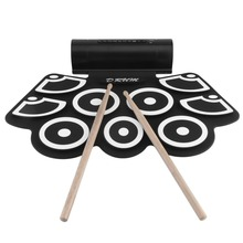 Digital Electronic Drum Built In Speaker Portable Electronic Roll Drum Pad Professional Foldable Practice Instrument