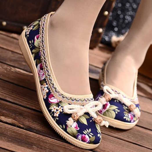 Women Flats Embroidered Ballet Flats Ethnic Retro Style Ladies Shoes Soft Sole Cloth Shoes Loafers Bow Tie Non-Slip Casual Comfo