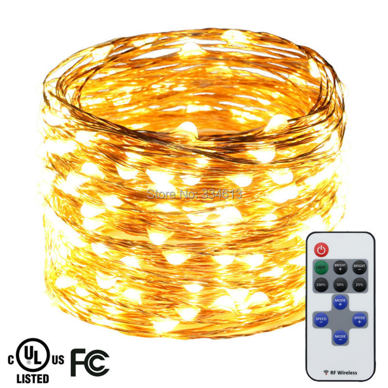 20M 66FT 200LED Copper Wire Warm White LED String Lights Holiday Starry Lights Christmas Fairy Lights with Remote+ UL CE Adapter