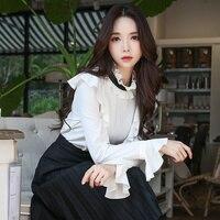Dabuwawa Autumn 2018 Women Blouses Office Lady Ruffles Stand Butterfly Sleeve Full Shirts Top
