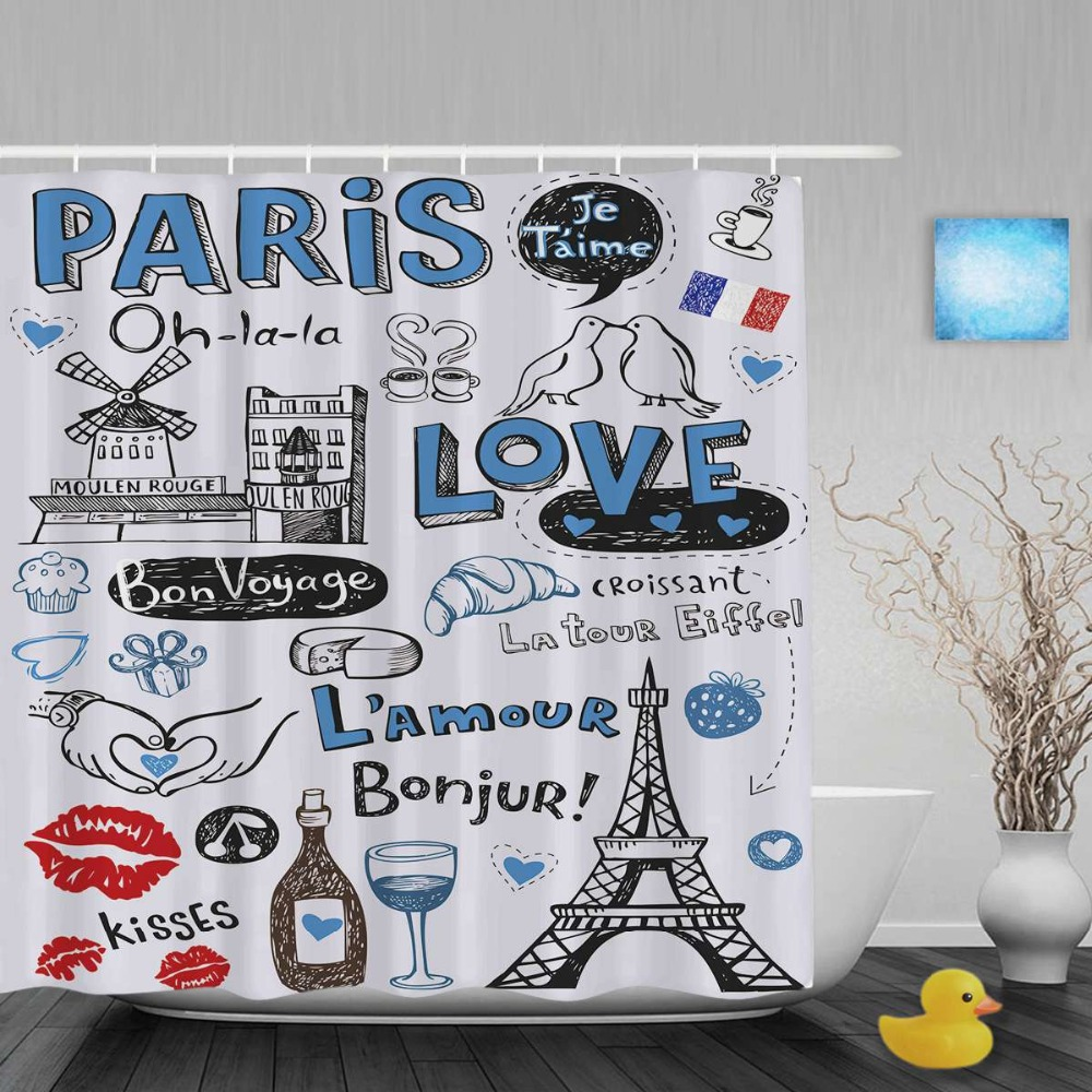 Fabric Paris Shower Curtain - Paris a city of love and romanticism shower curtain bird eiffel tower bathroom curtains waterproof polyester fabric with hooks