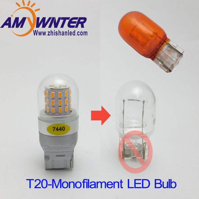 AMYWNTER 7440 7444 Led bulb mobil T20 styling 7443 LED Xenon putih Turn Signal Lights 3014 SMD 4W led Membalikkan lampu mobil